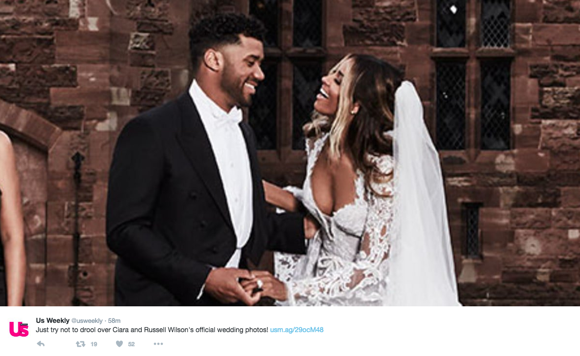 """Just try not to drool over Ciara and Russell Wilson's official wedding photos!"" http://usm.ag/29ocM48  (Image: @usweekly / twitter.com/usweekly)"