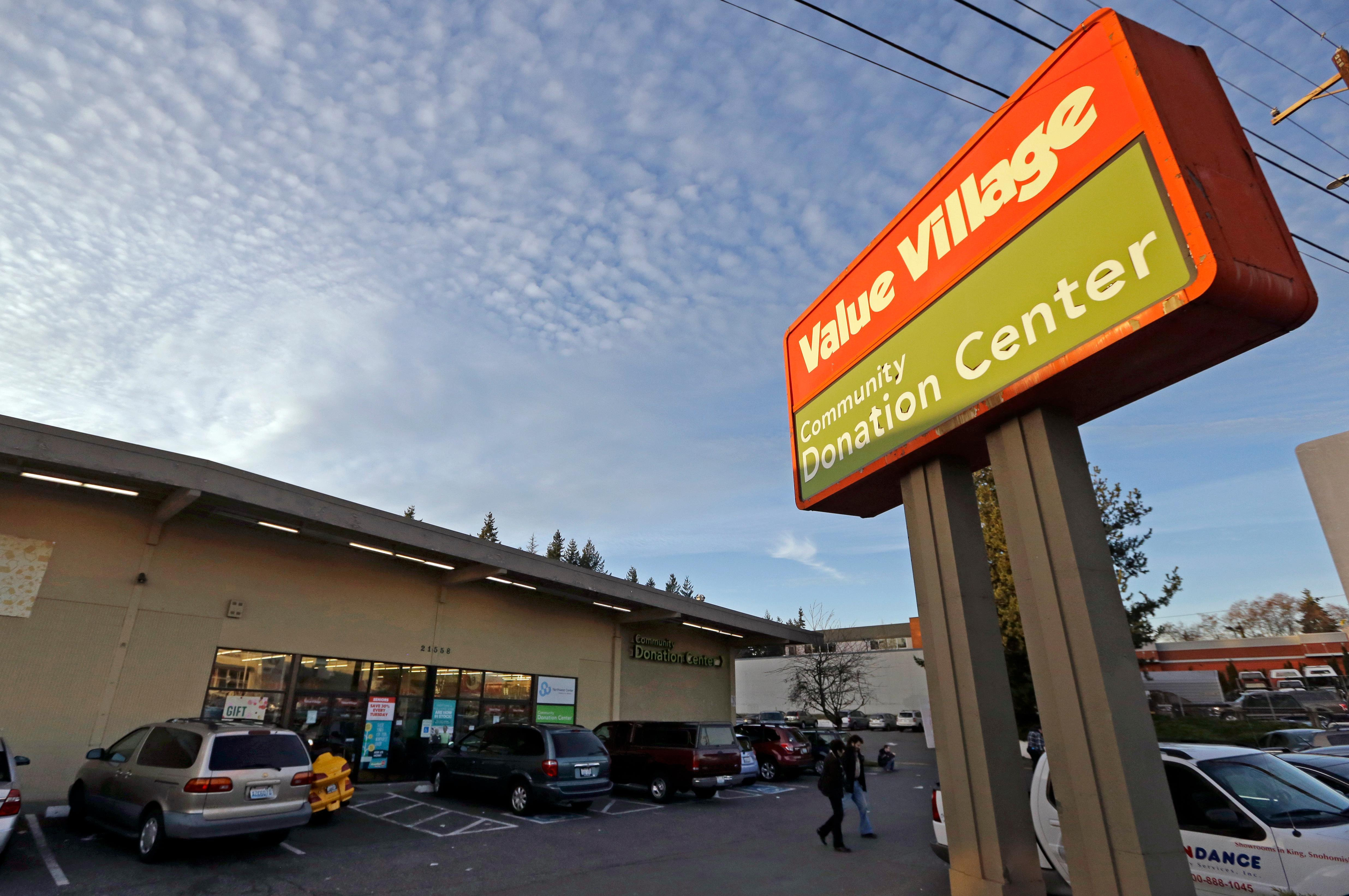 A Value Village store is seen Tuesday, Dec. 12, 2017, in Edmonds, Wash. The company that operates 300 Value Village, Savers and other thrift stores in the U.S., Canada and Australia is suing Washington state Attorney General Bob Ferguson, saying his office has violated its rights by demanding $3.2 million to settle a three-year investigation. (AP Photo/Elaine Thompson)