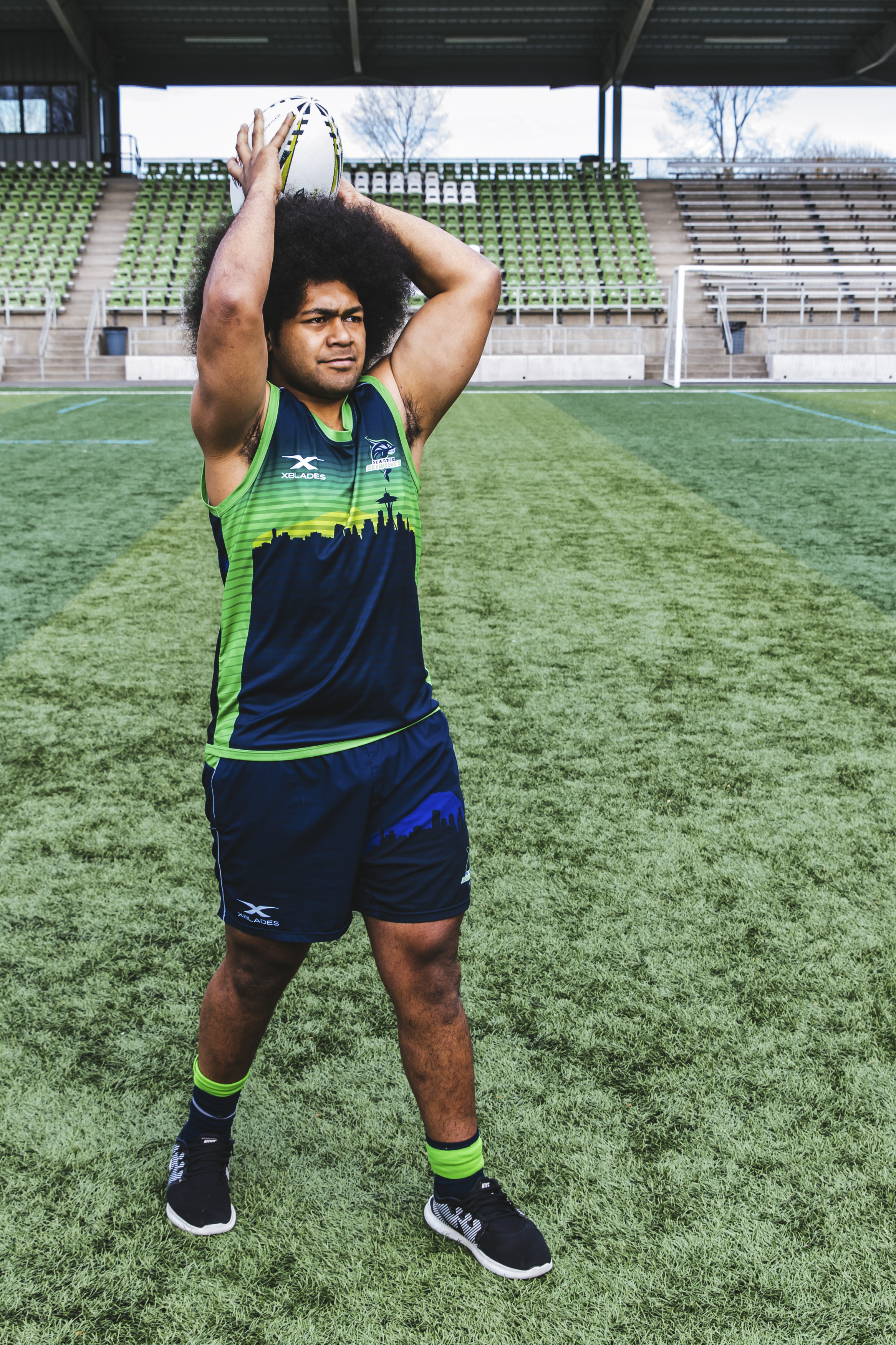 Meet Vili! I'm not sure you'll ever see Vili without a smile? He has the most beautiful smile first of all, but he's just like a giant teddy bear. The-25-year old plays Flanker for the Seawolves and is originally from Kahului, Maui, Hawaii. When I asked him what his favorite snack was he said horse, and I couldn't tell if he was messing with me or if he was serious... Either way - Vili is the man! (Image: Sunita Martini / Seattle Refined).