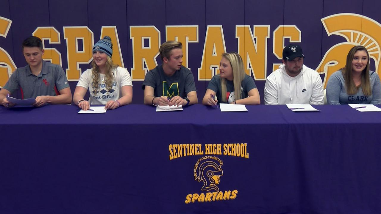 Six Sentinel High seniors were recognized Wednesday for signing letters of intent to compete in college athletics.<p></p>