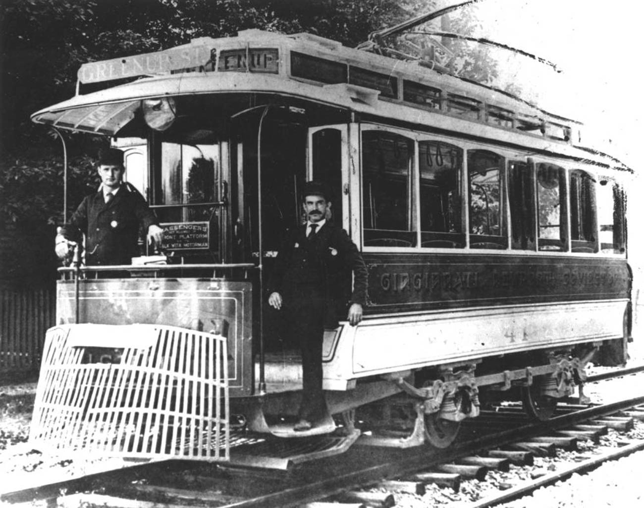 The Ludlow Lagoon was created by investors and officers in Cincinnati's Street Railway Company to spur demand and attract evening and weekend riders to the end of the #3 Ludlow Line. At the height of the park's popularity, streetcars packed with passengers departed Fountain Square every two minutes en route to Ludlow Lagoon. Pictured is members of the Green Line Trolley Company on Greenup Street in Covington in 1895. / Image courtesy of the Kenton County Public Library via The Greater Cincinnati Memory Project of{&nbsp;}The Public Library of Cincinnati and Hamilton County // Published: 6.5.19<br>