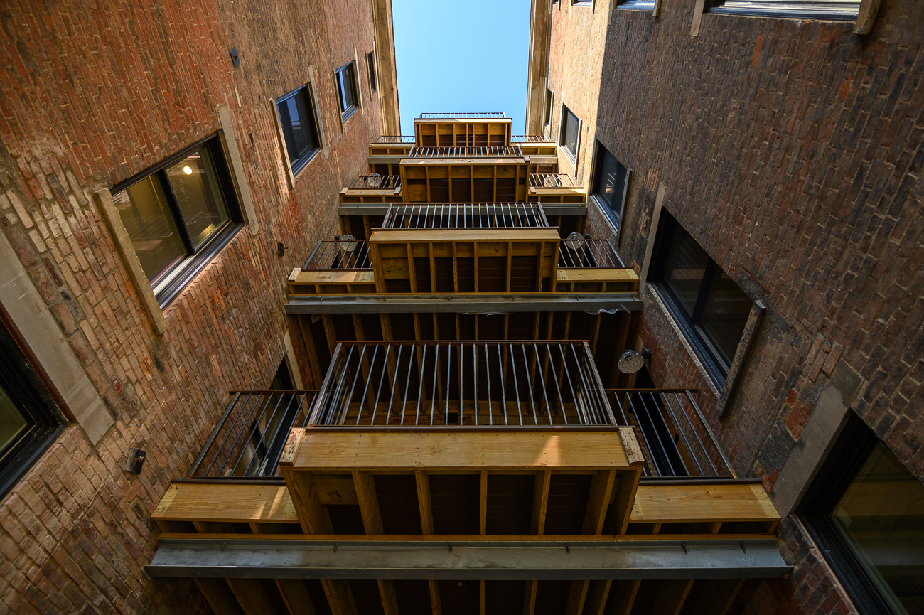In addition to the apartments, Acanthus built communal balconies on every level and are finishing a private courtyard accessible by residents. / Image: Phil Armstrong, Cincinnati Refined // Published: 5.9.19