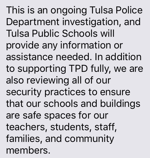 Tulsa Public Schools statement on janitor's sexual assault by teenage suspects (KTUL)