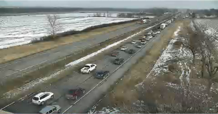 Traffic backed up from a fataj accident on I-80 EB. Photo courtesy Iowa DOT.