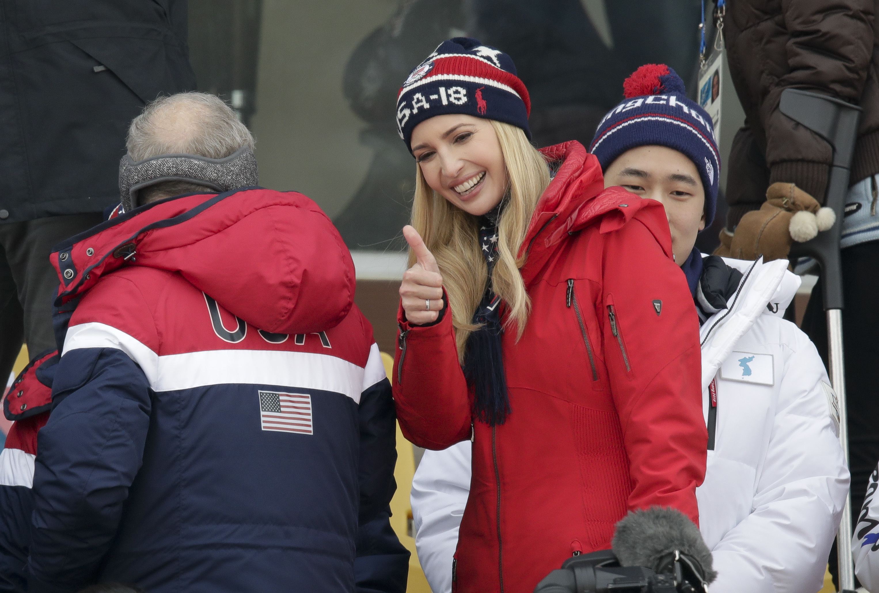 Ivanka Trump gestures during the men's Big Air snowboard competition at the 2018 Winter Olympics in Pyeongchang, South Korea, Saturday, Feb. 24, 2018. (AP Photo/Dmitri Lovetsky)