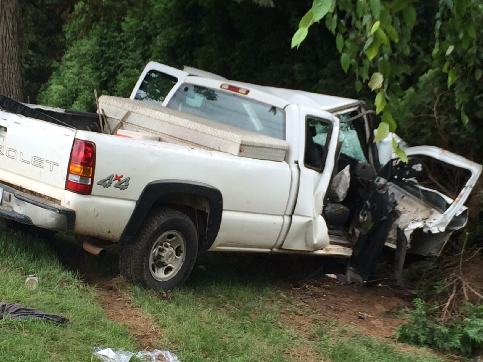 The single-vehicle wreck happened just before 10 a.m. Thursday on Butler Bridge Road at Yadkin Road. (Photo credit: WLOS Staff)