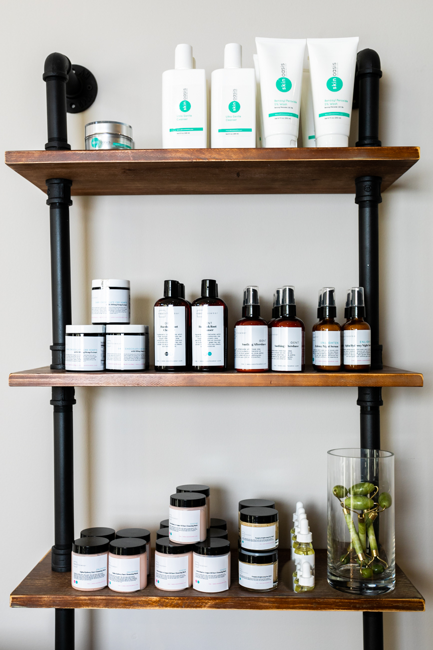 The skin care products available at Oasis Face Bar are locally made. / Image: Amy Elisabeth Spasoff // Published: 3.17.19