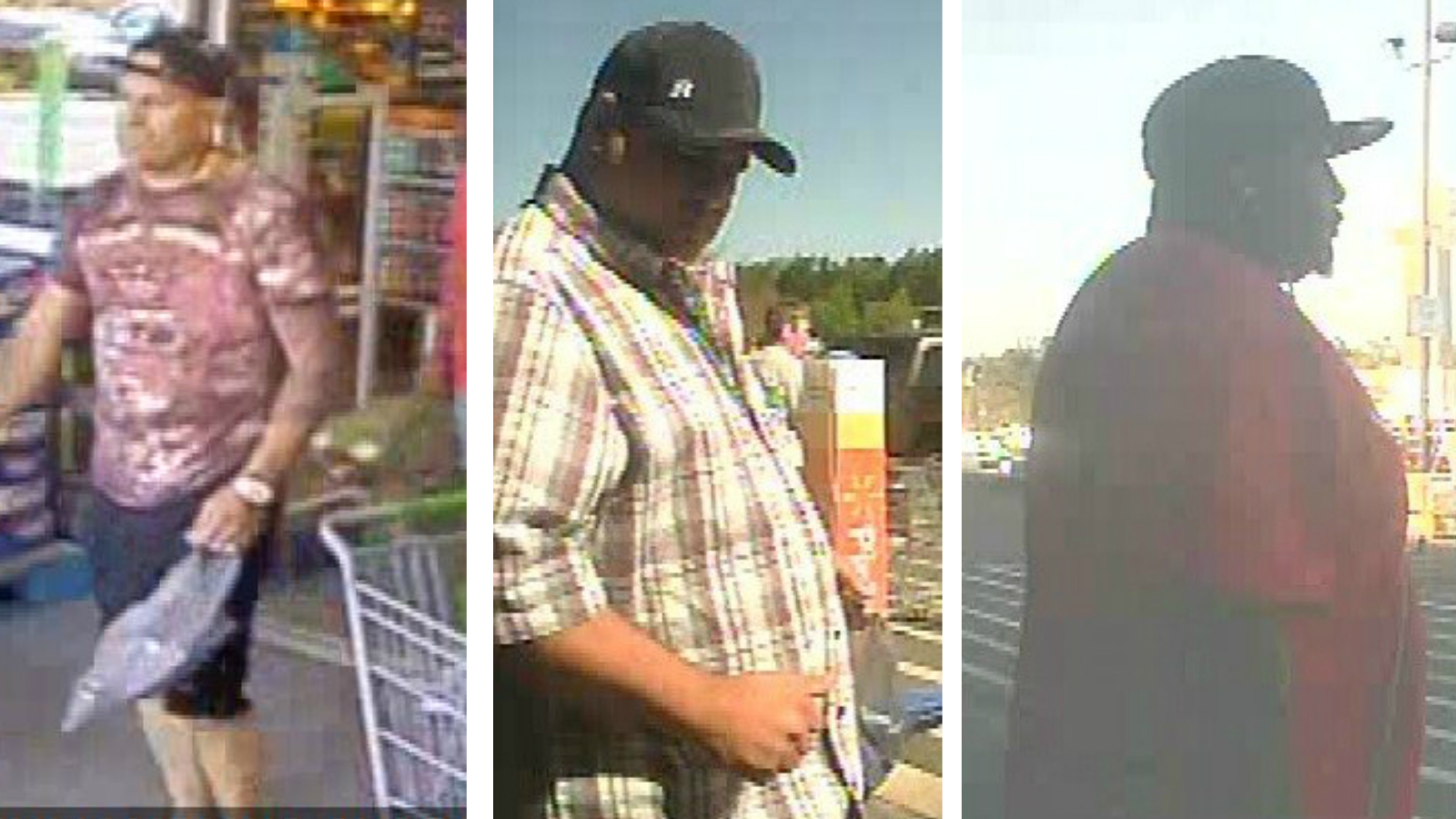 Goose Creek Police are asking for the public's help identifying three men accused of committing credit card fraud at Walmart stores in April.