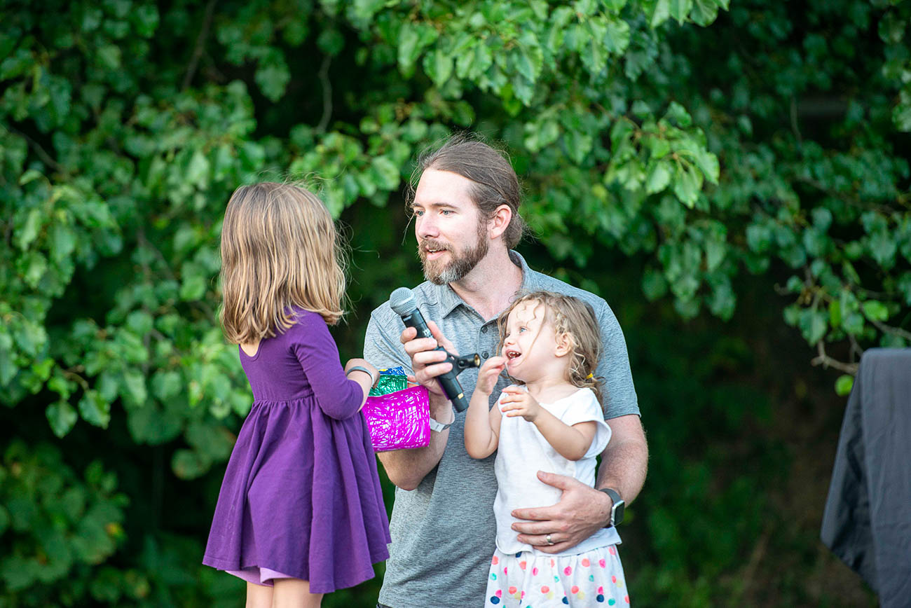 Drew Heidel with his daughters Juniper and Evelyn.  / Image: Joe Simon // Published: 7.14.19