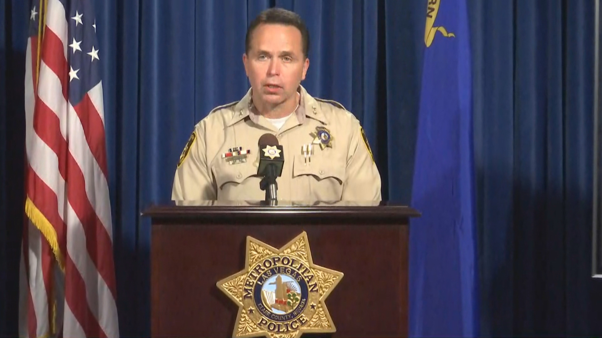 Assistant Sheriff Tom Roberts of the Las Vegas Metropolitan Police Department provides details Tuesday, November 14, 2017, of a deadly officer-involved shooting that occurred Saturday, Nov. 11. (KSNV)