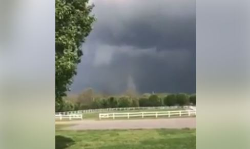 A possible tornado touched down at Rising Star Ranch in Shelbyville on Wednesday. (Courtesy Rising Star Ranch/Davis Williams)