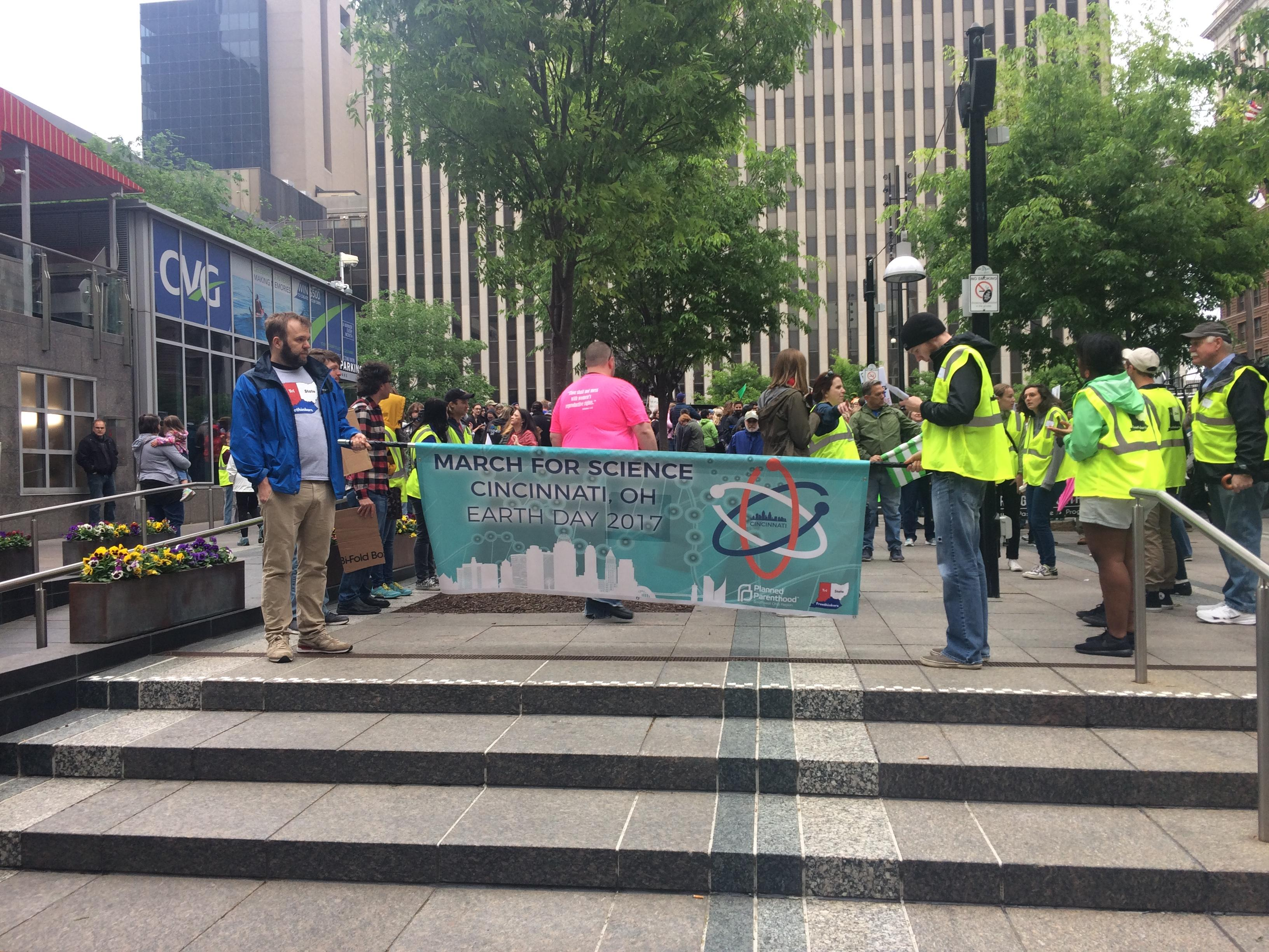 "A group of residents and scientists organized ""March for Science Cincinnati"" Saturday. ("