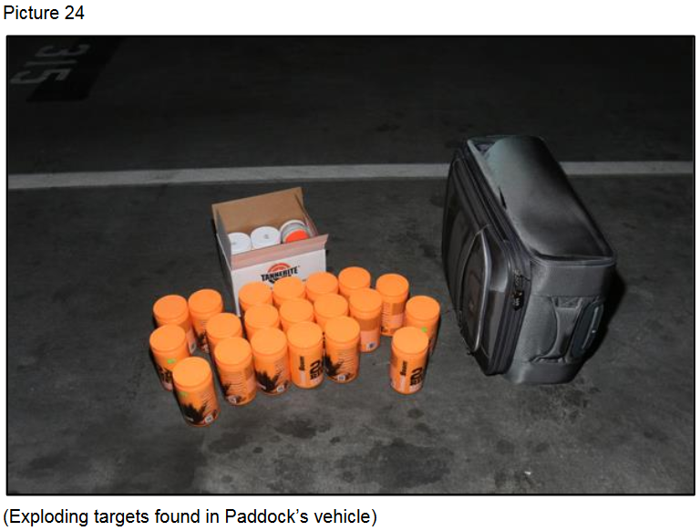 Exploding targets found in Paddock's vehicle{ }(Courtesy LVMPD)