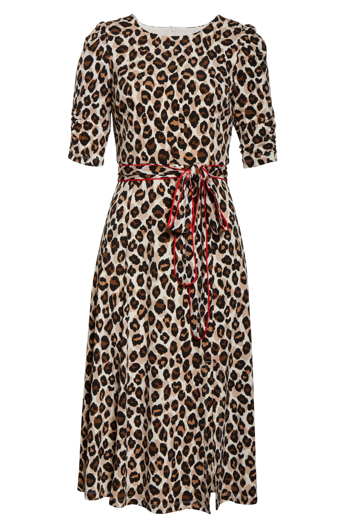 Fire-hot red piping traces the flattering sash and complements the fierce leopard print of this fine gauge–knit midi dress framed by softly shirred sleeves. $82.80 -{ }Shop the Look{ }(Image: Nordstrom){ }