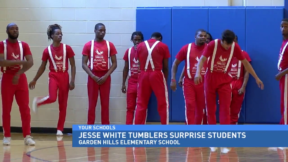 Jesse White Tumblers Surprise Elementary Students | WRSP