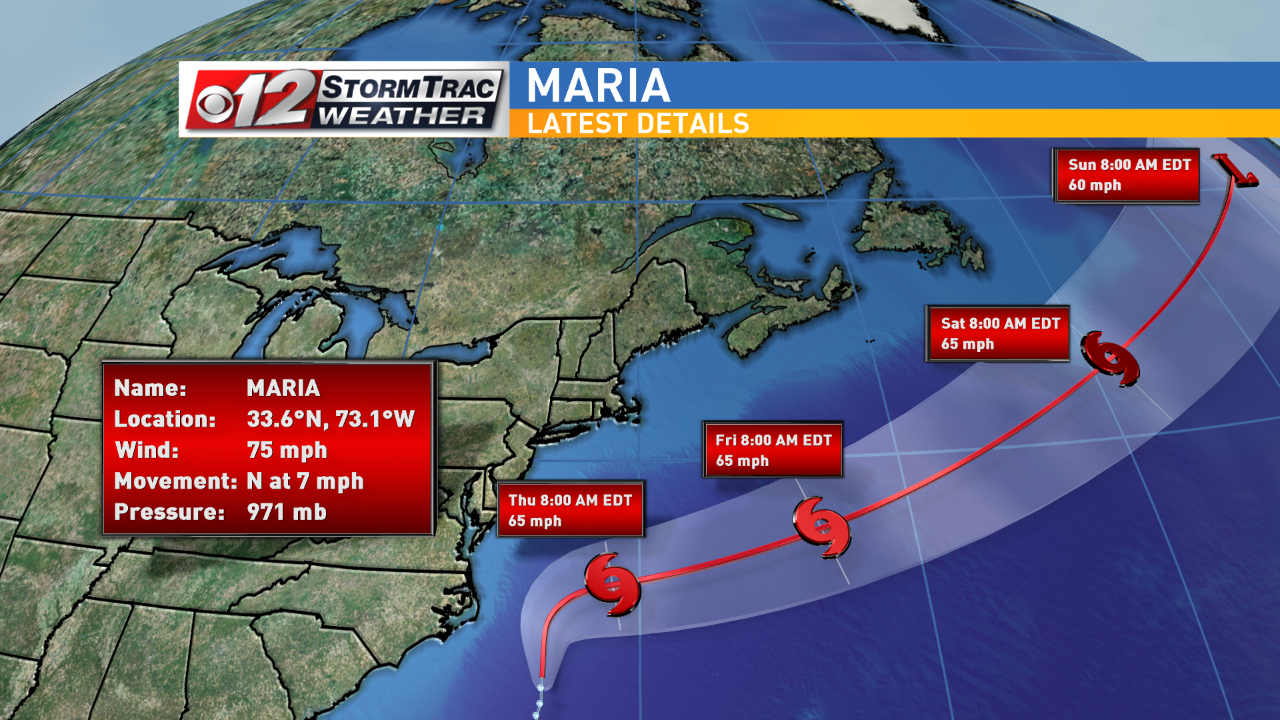Maria is approaching the Outer Banks of the Carolinas. (WPEC)