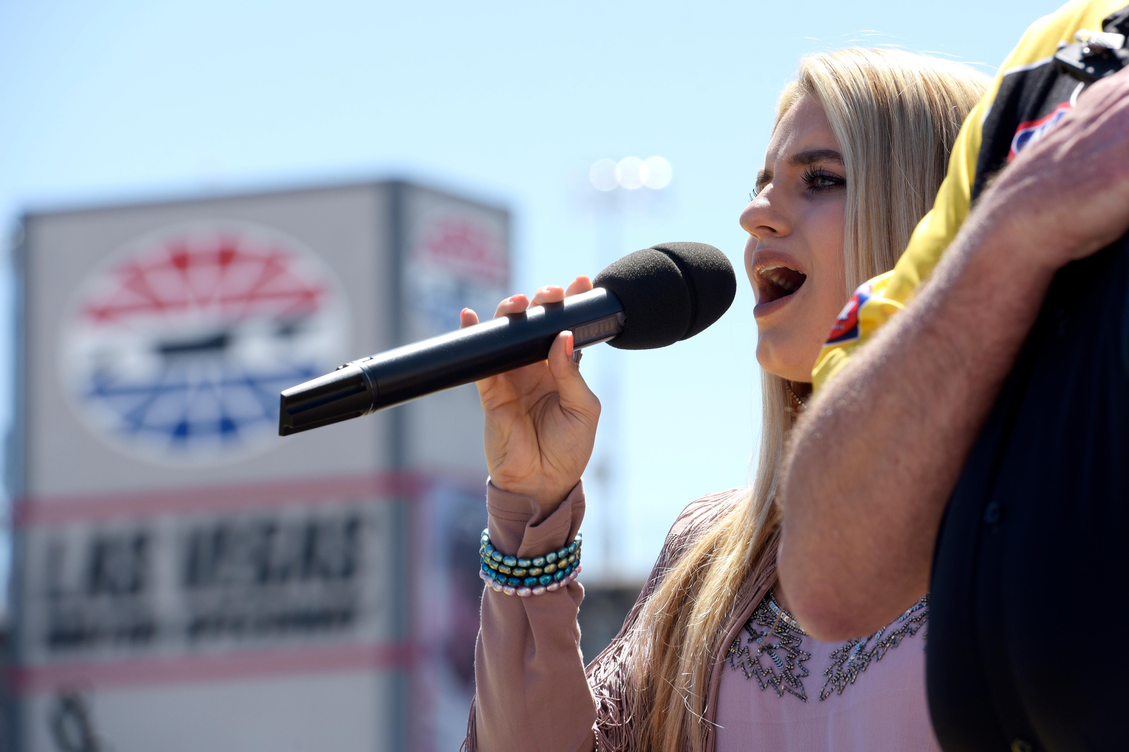 Siena Paglia sings the national anthem during the NHRA DENSO Spark Plug Nationals at The Strip at the Las Vegas Motor Speedway Sunday, April 2, 2017. (Sam Morris/Las Vegas News Bureau)