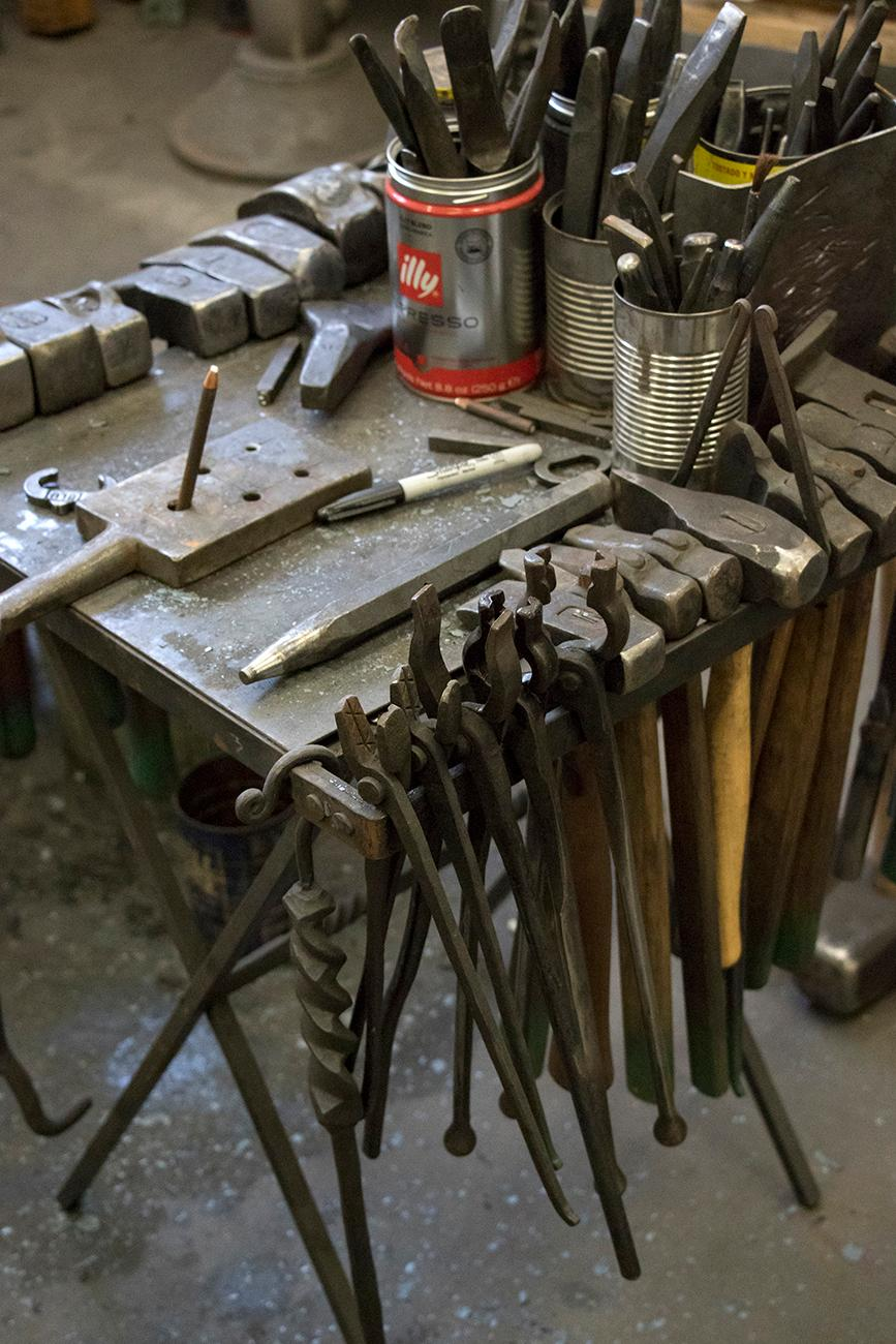 Artist and blacksmith{ }Mark Gilsdorf's tools / Image: Allison McAdams // Published: 6.12.18
