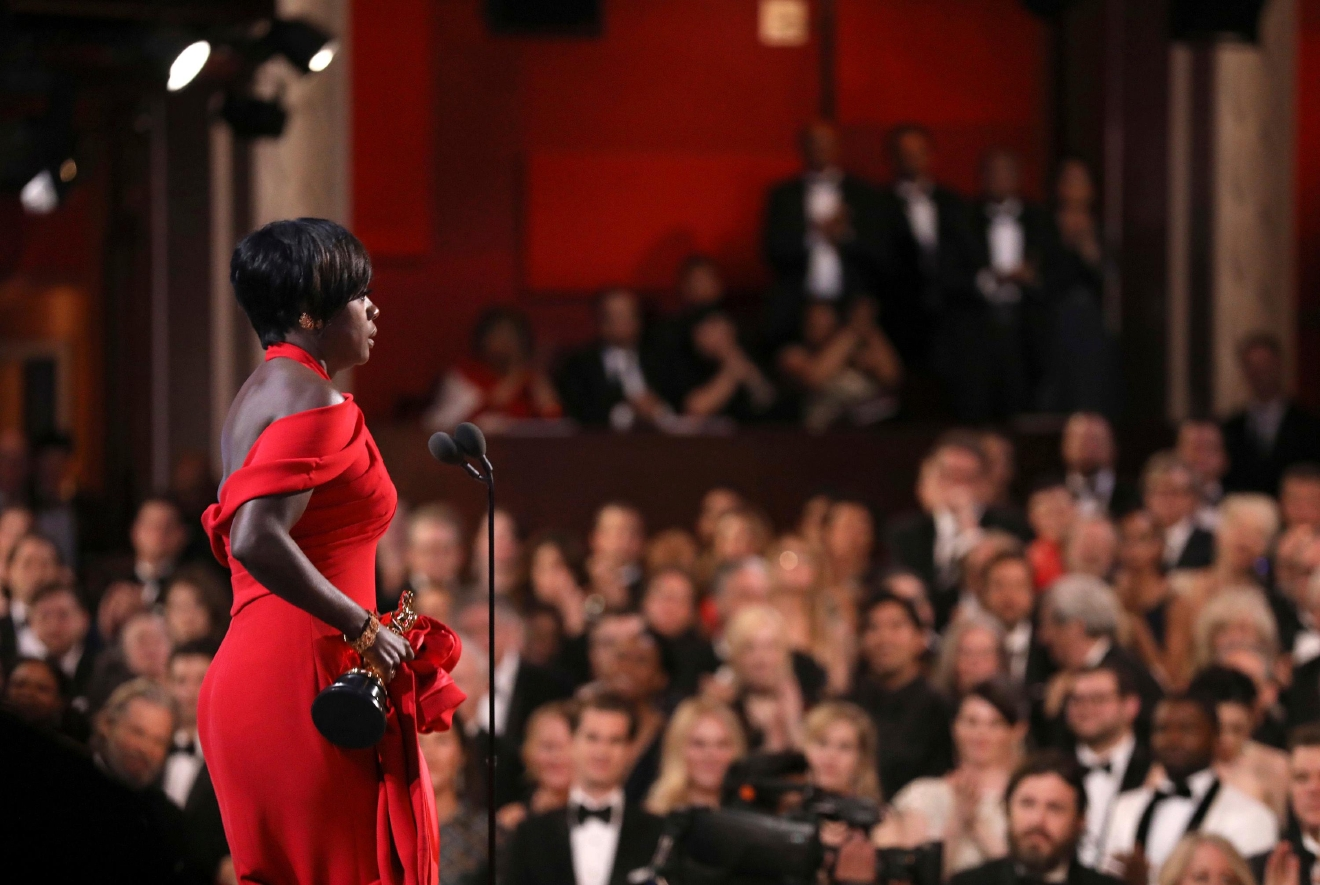 "Viola Davis accepts the award for best actress in a supporting role for ""Fences"" at the Oscars on Sunday, Feb. 26, 2017, at the Dolby Theatre in Los Angeles. (Photo by Matt Sayles/Invision/AP)"