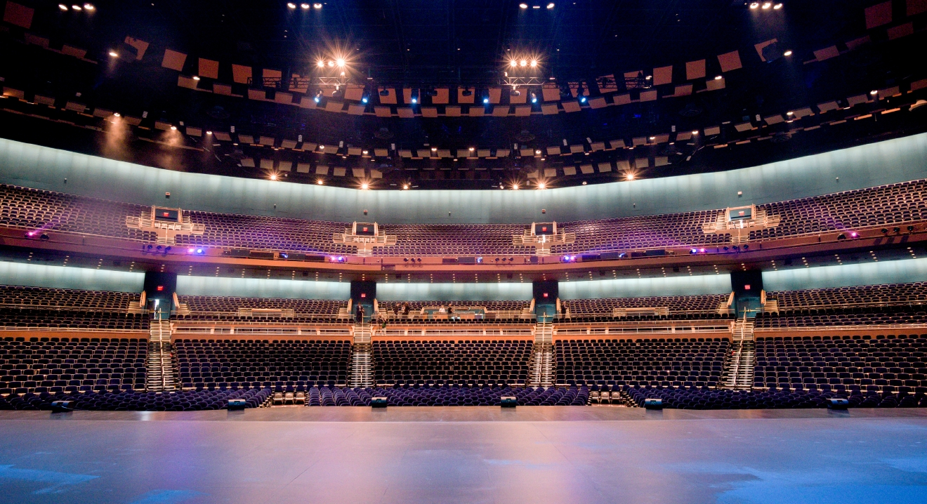 In this view from the stage, the interior of The Park Theater at the Monte Carlo Resort and Casino is seen during a press preview in Las Vegas on Tuesday, Dec. 6, 2016. The 5200-seat venue opens on Dec. 17 with Stevie Nicks and The Pretenders.  CREDIT: Mark Damon/Las Vegas News Bureau