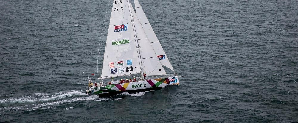 The Visit Seattle yacht. (Photo credit: onEditionThe Clipper 2017-18 Round the World Yacht Race Fleet)