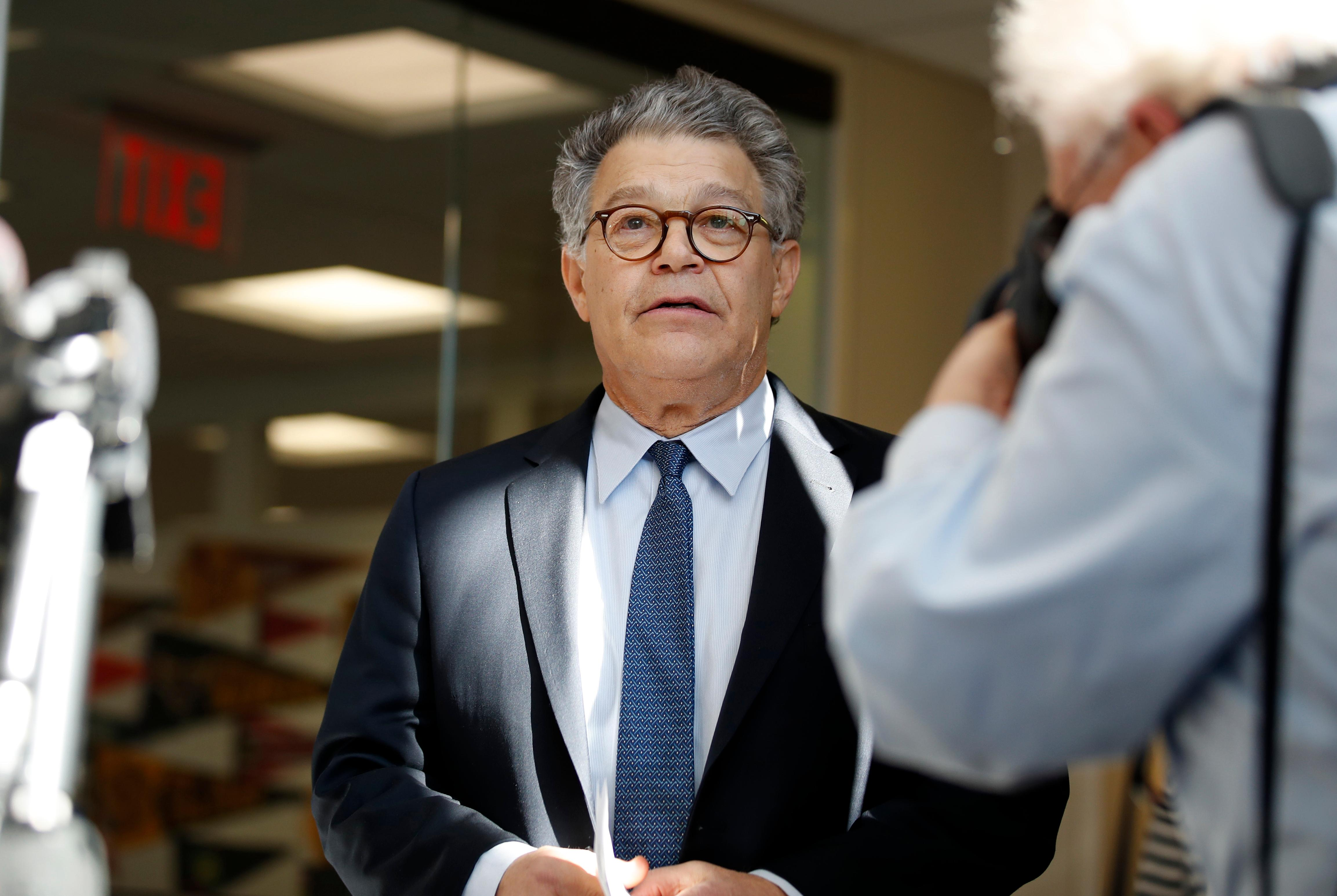 Sen. Al Franken, D-Minn., arrives to speak to the media on Capitol Hill, Monday, Nov. 27, 2017 in Washington. (AP Photo/Alex Brandon)