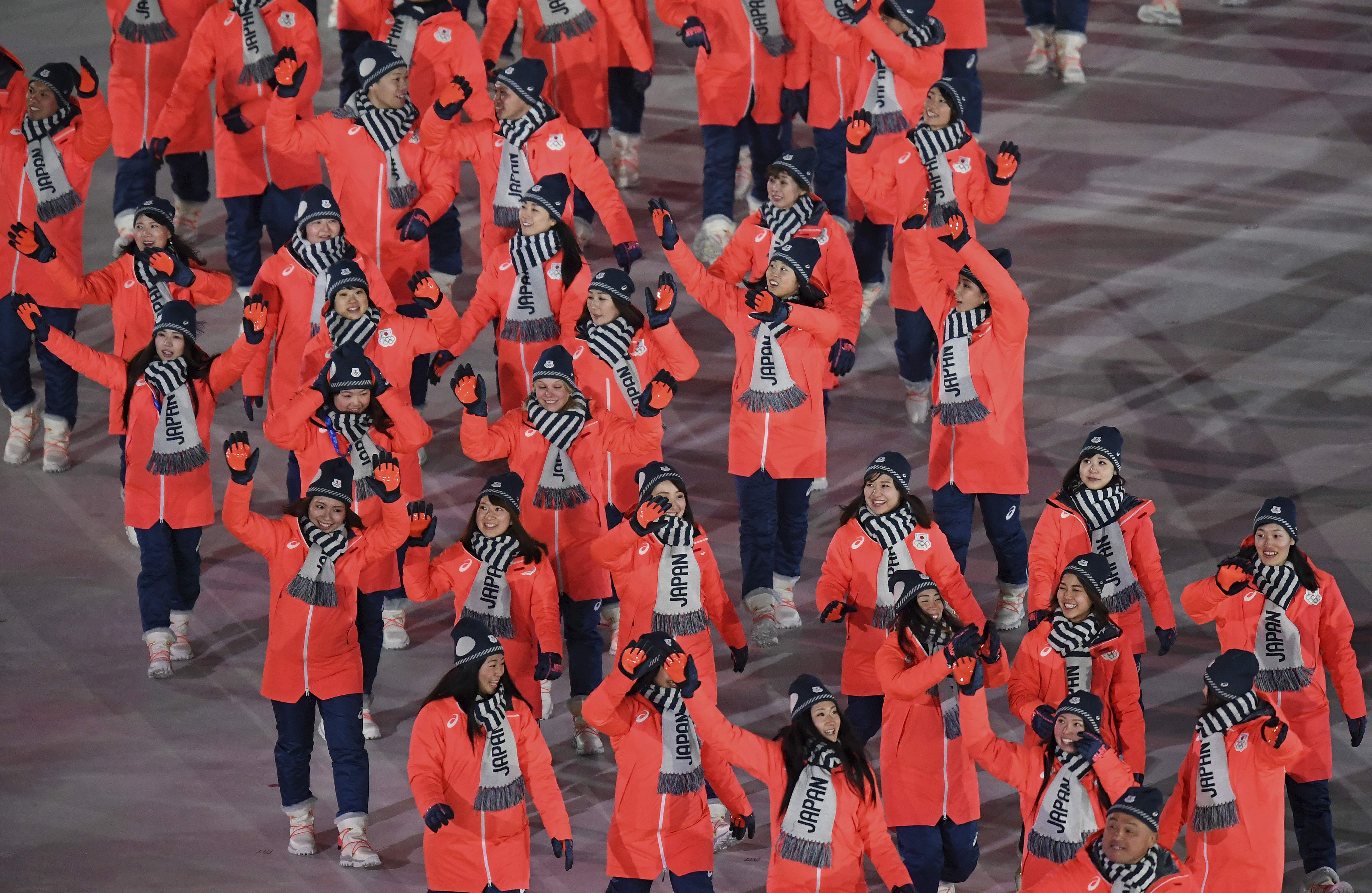 Japan arrives during the opening ceremony of the 2018 Winter Olympics in Pyeongchang, South Korea, Friday, Feb. 9, 2018. (Franck Fife/Pool Photo via AP)