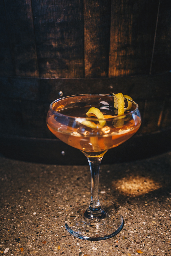 Barrel Aged Gin Martini: New Riff BBA Gin, Contratto Dry vermouth, angostura bitters, and garnished with a twist of lemon / Image: Catherine Viox // Published: 3.25.19