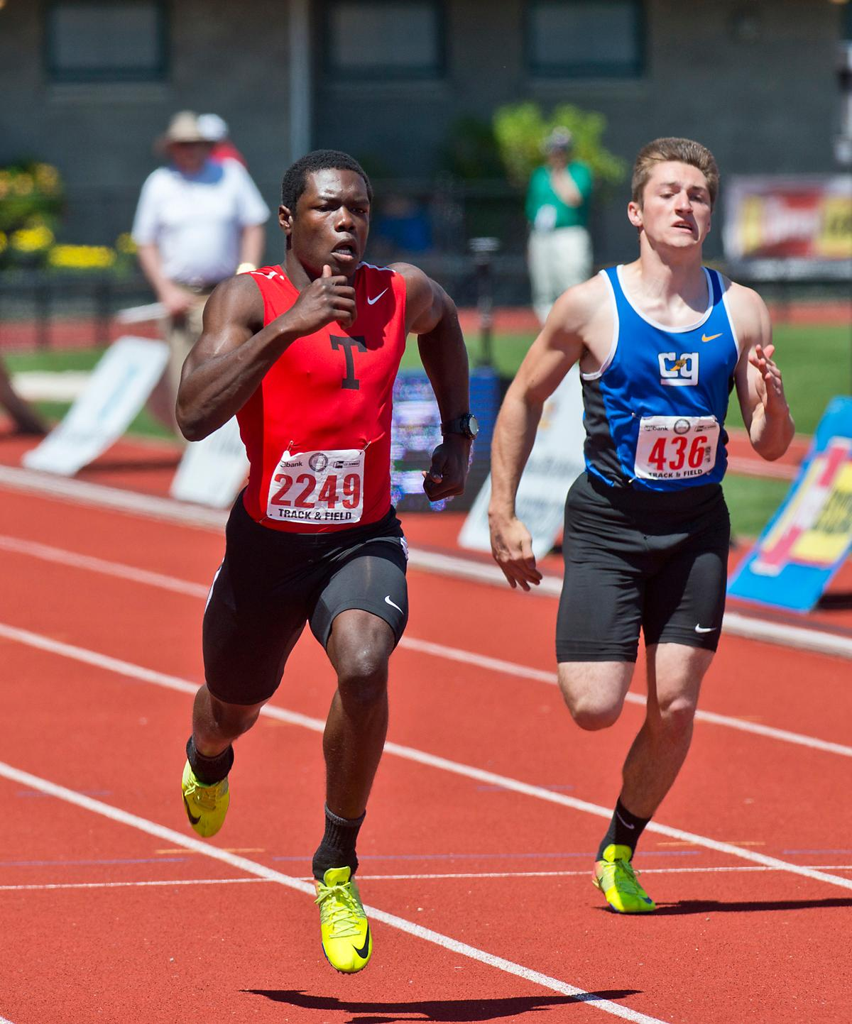 Rory Coon wins the 4A Boys 100 meter dash with a time of 10.75 at the OSAA Track Championship at Hayward Field on Saturday. Photo by Dan Morrison, Oregon News Lab