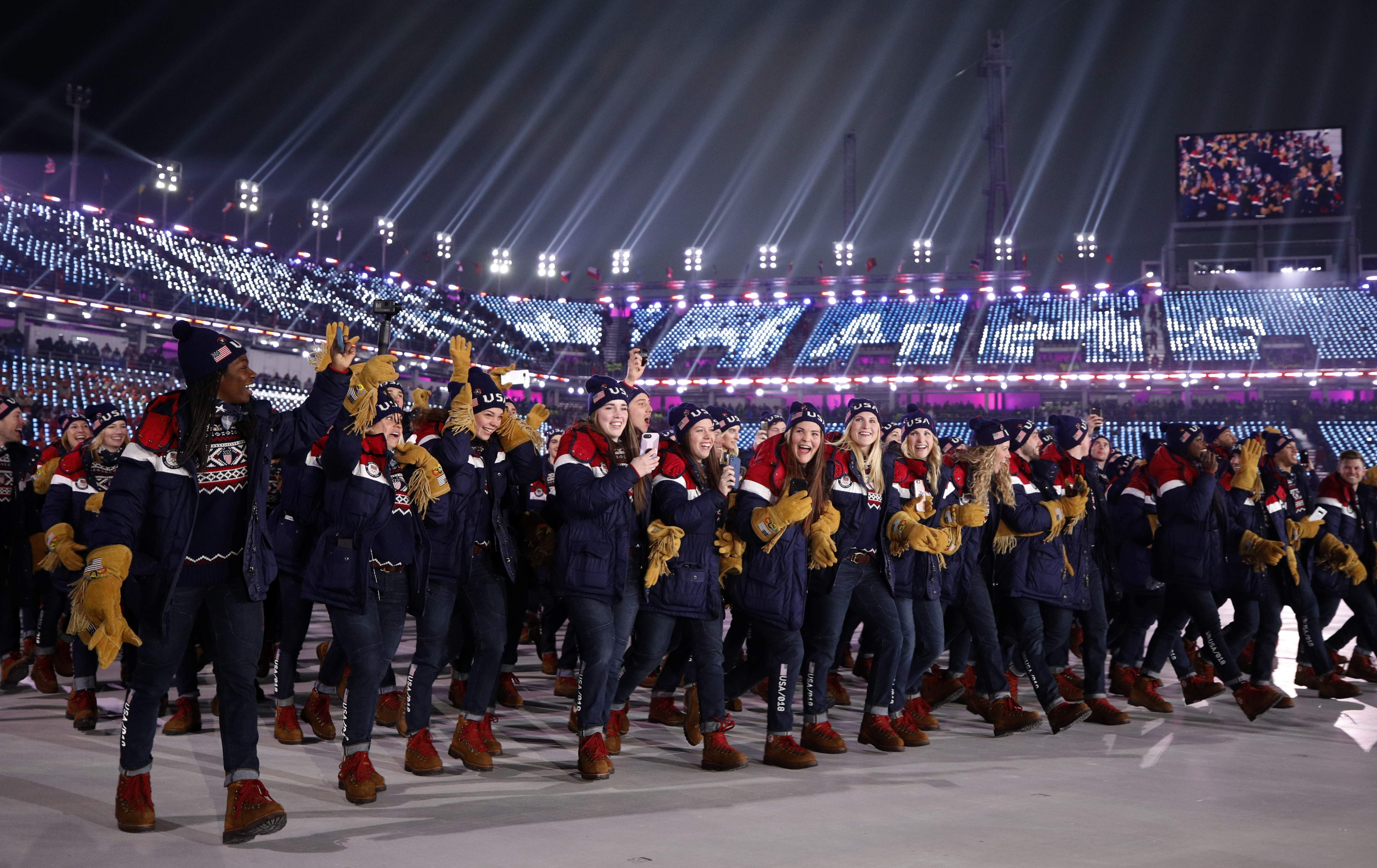 Members of the United States team walk during the opening ceremony of the 2018 Winter Olympics in Pyeongchang, South Korea, Friday, Feb. 9, 2018. (AP Photo/Jae C. Hong)
