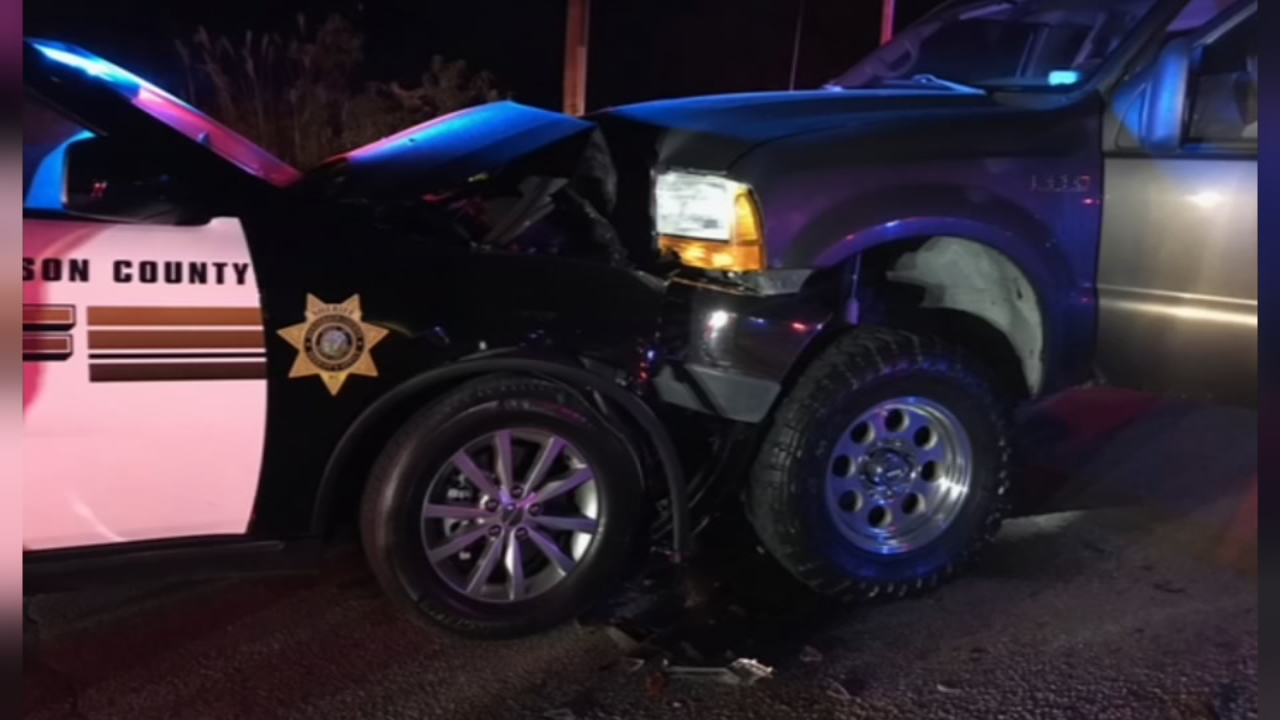 Authorities say a Henderson County Deputy was hit head-on by an impaired driver. (Photo credit: Henderson County Sheriff's Office)<p></p>