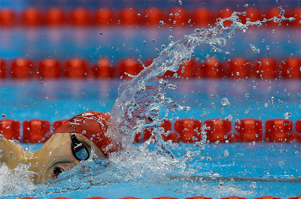 Oliver Hynd, from Britain, competes the men's 400-meter freestyle S8 swimming event at the Paralympic Games in Rio de Janeiro, Brazil, Thursday, Sept. 8, 2016. (AP Photo/Leo Correa)