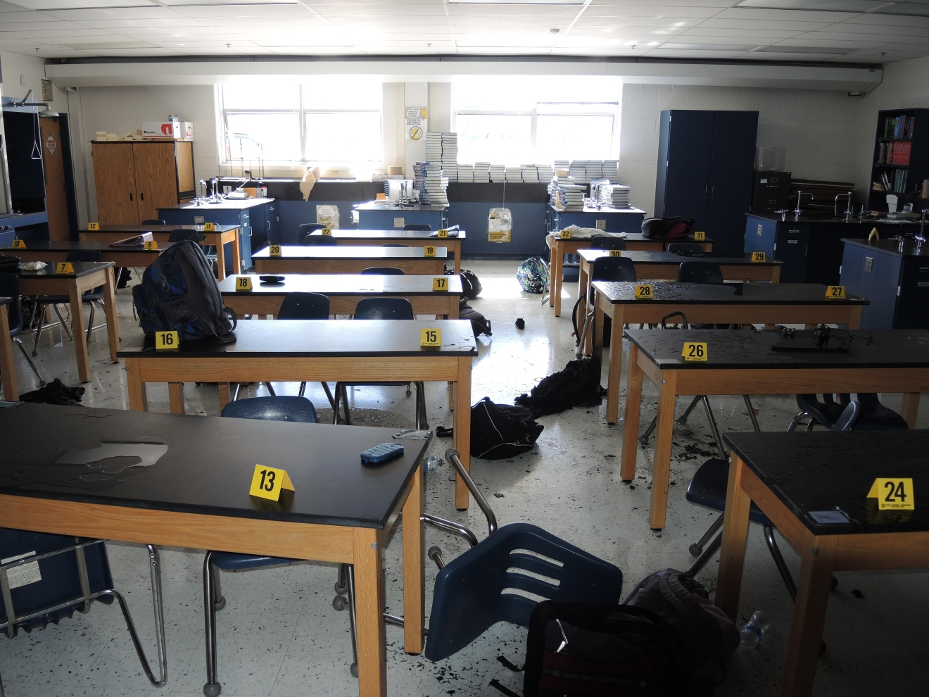 Picture of the classroom after the experiment. (Photo: Virginia Occupational Safety and Health)