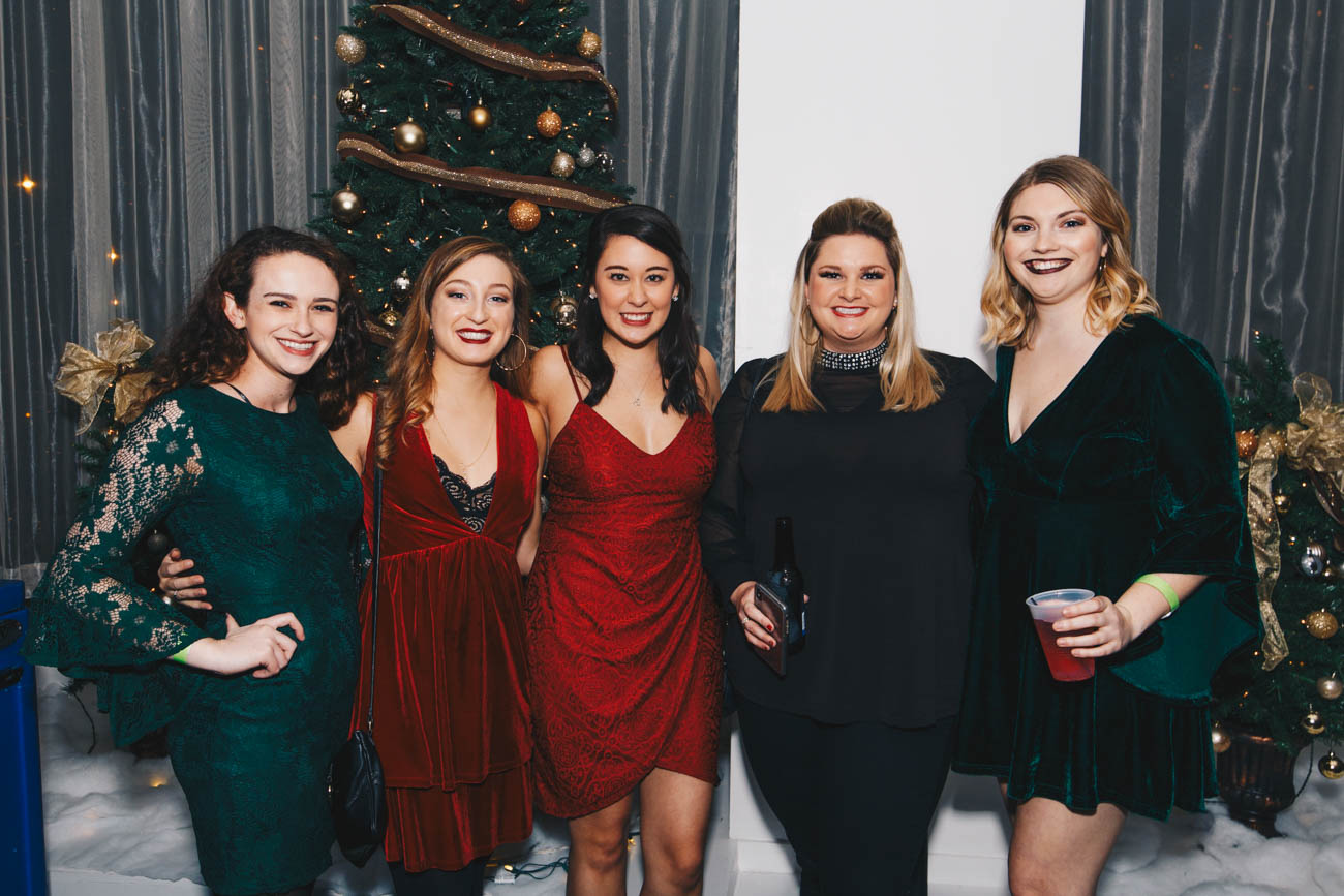 "Teresa Lazzari, Lauren Iglesias, Genna Cahill, Nicole Vollman, and Hannah Jones celebrating New Year's Eve at Hotel Covington's ""All That Glitters"" party on December 31.  / Image: Catherine Viox // Published: 1.3.19"