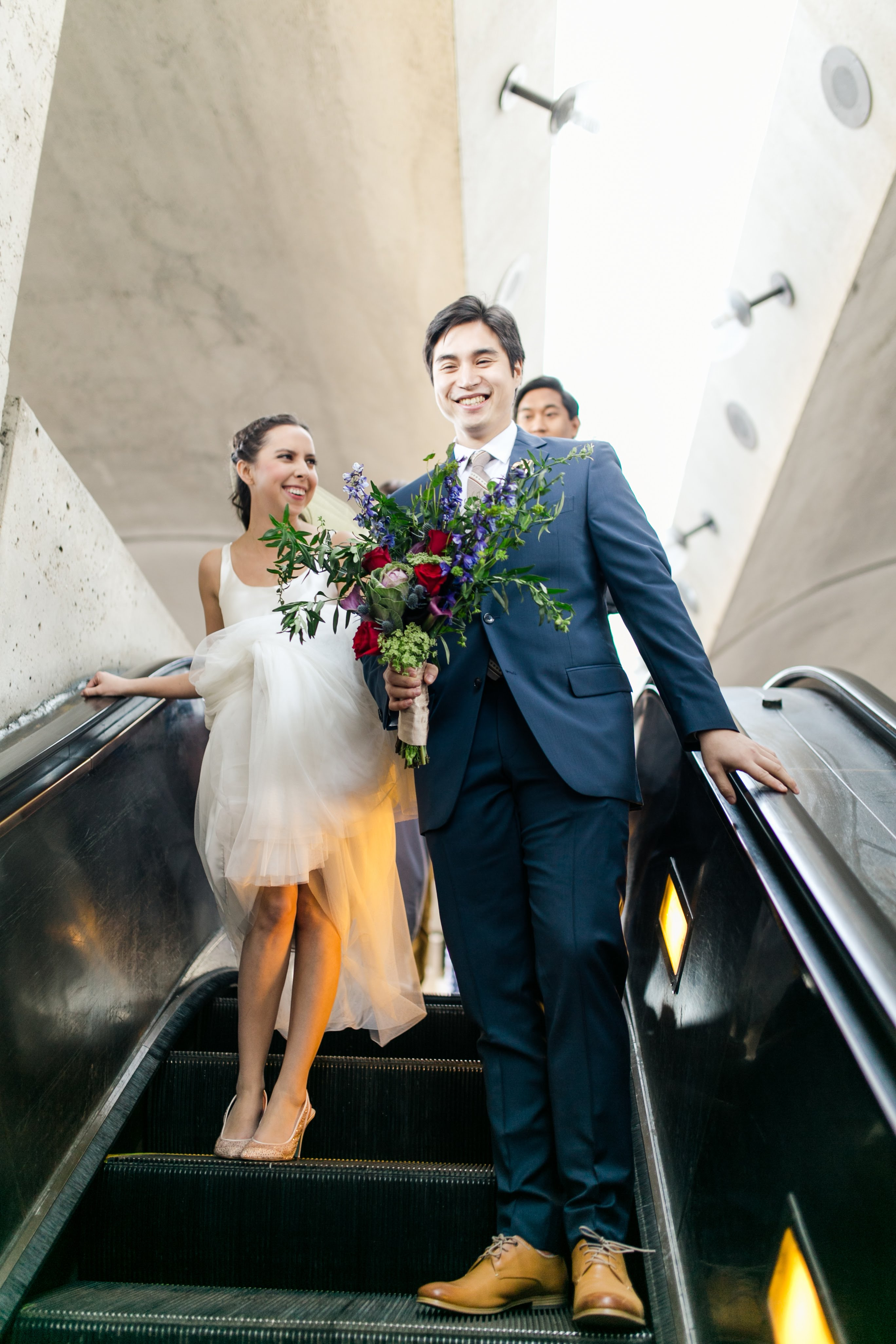 For Stephanie, one of the highlights of her whole wedding day was riding the metro to the wedding.{ } (Image: Brandon C. Photography)