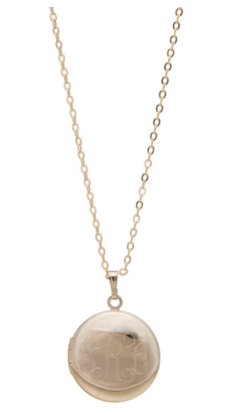 Tuckernuck, Monogrammed small round gold-tone locket necklace, $50 (BrandlinkDC)
