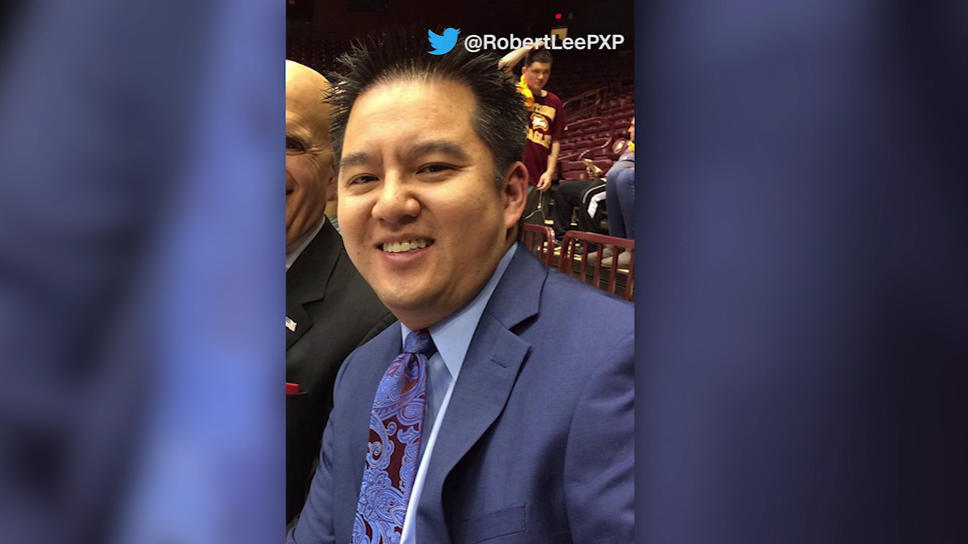 Announcer Robert Lee had been scheduled to cover the UVA game on Sept. 2. He has been reassigned due to similarities to the name of Confederate General Robert E. Lee. (CNN/Twitter/@RobertLeePXP)