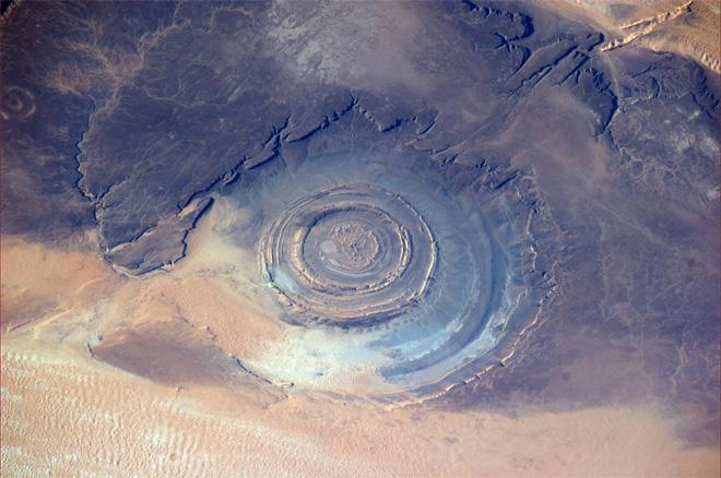 This is the Richat Structure, Eye of the Sahara or blue eye of Africa. It's a circular geological feature in the Sahara desert. (Photo & Caption: Rick Mastracchio, NASA)