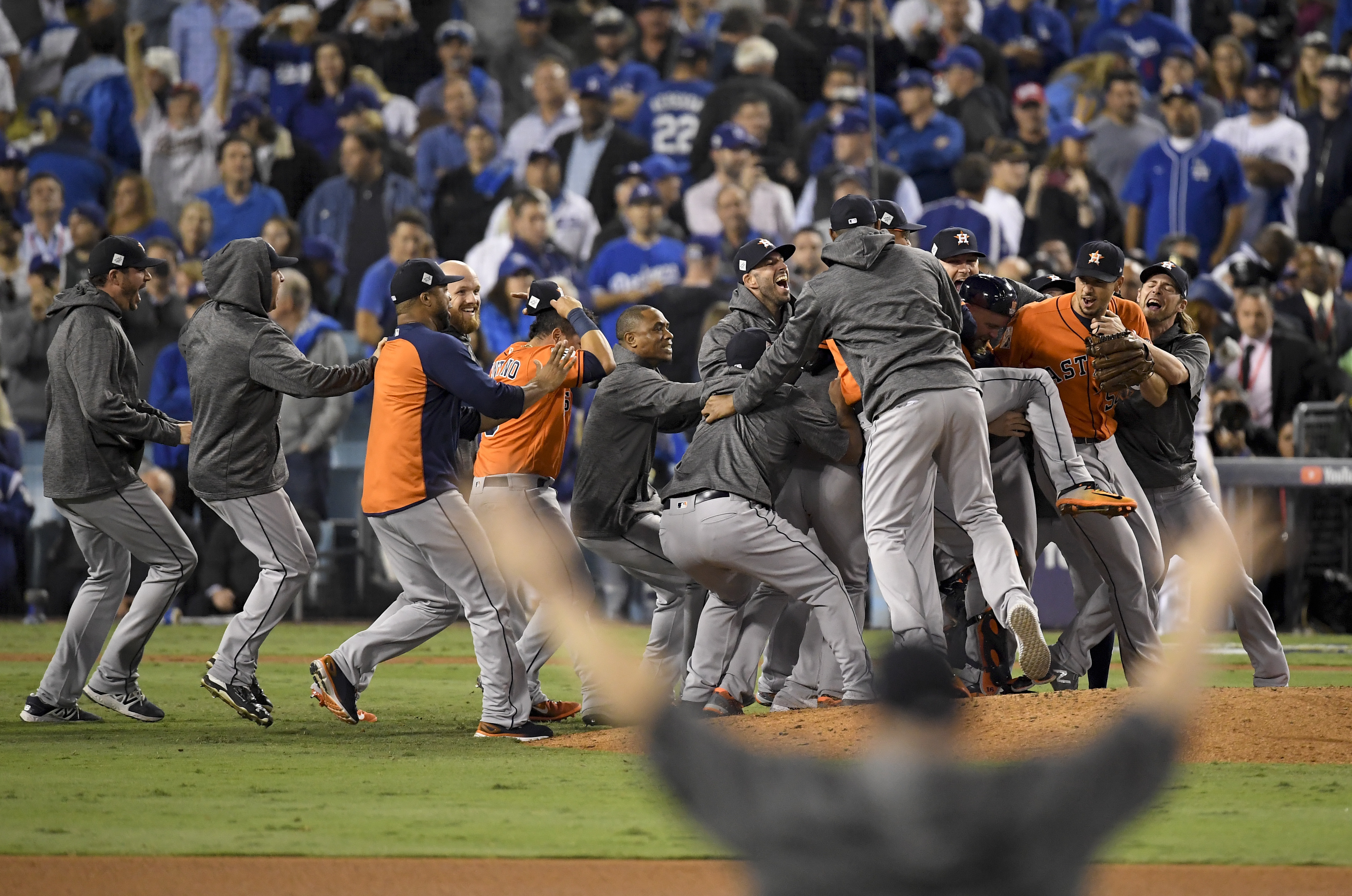Houston Astros celebrate after their win against the Los Angeles Dodgers in Game 7 of the World Series Wednesday, Nov. 1, 2017, in Los Angeles. The Astros won 5-1 to win the series 4-3. (AP Photo/Mark J. Terrill)