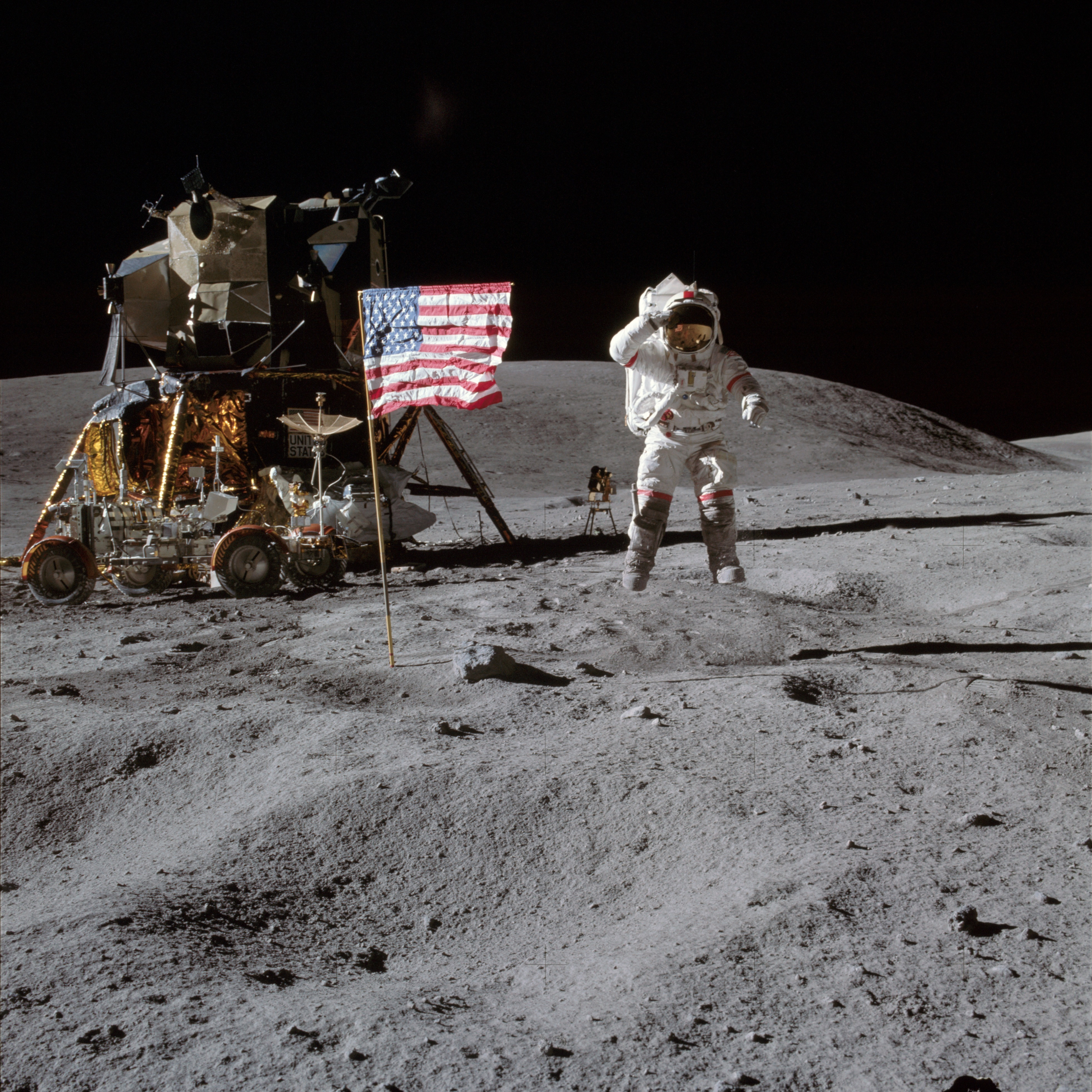 PICTURE SHOWS:  (21 April 1972) --- Astronaut John W. Young, commander of the Apollo 16 lunar landing mission, leaps from the lunar surface as he salutes the United States flag at the Descartes landing site during the first Apollo 16 extravehicular activity (EVA).  ...   Prepare to have your mind blown - NASA has collected together a treasure trove of more than 140,000 images, videos and audio files.  The stunning collection consolidates imagery spread across more than 60 collections into one searchable location, called the NASA Image and Video Library website.  Cover Images have chosen a gallery of the most popular images currently on the website, which include the first American astronaut to walk in space and a self-portrait of NASA's Curiosity Mars rover.  The portal allows users to search and discover content from across the agency's many missions in aeronautics, astrophysics, Earth science, human spaceflight, and more.  The library is not comprehensive, but rather provides the best of what NASA makes available from a single point of presence on the web. Additionally, it is a living website, where new and archival images, video and audio files continually will be added.  When: 19 Apr 2017