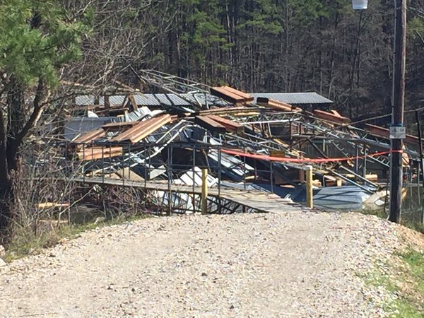The National Weather Service in Little Rock says it was an EF-1 rated tornado that touched down at Mountain Harbor Resort. (KATV photo)