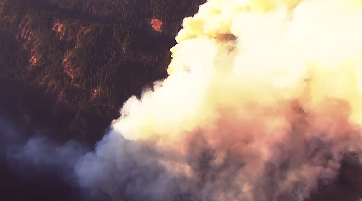 Fire ravages Eagle Creek area in the Columbia River Gorge (Photo from Chopper 2)