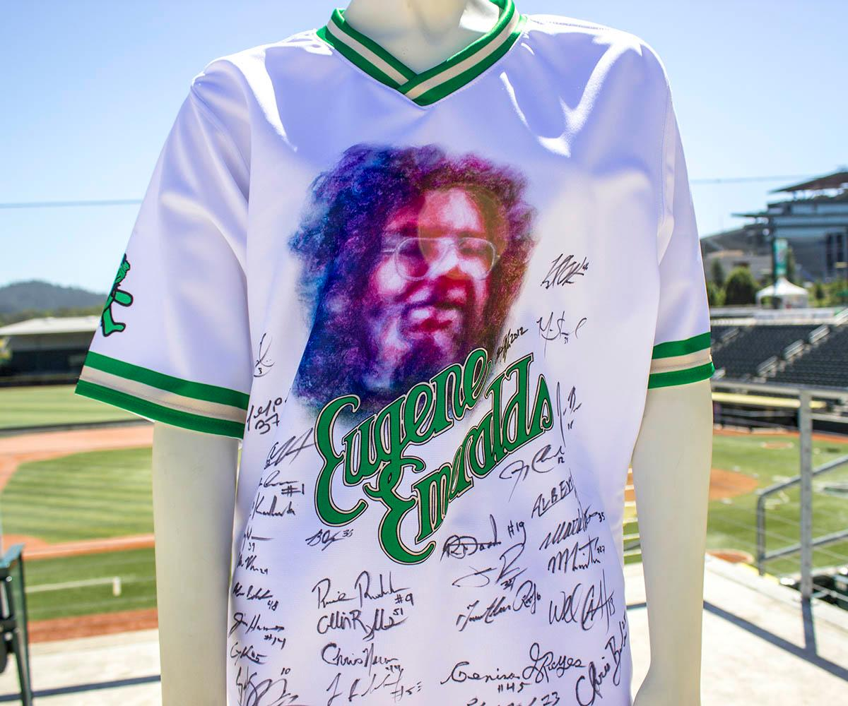 This jersey was designed before current Eugene Emeralds graphic designer Danny Cowley was hired. It was released exclusively for Grateful Dead Night and it was designed by Jerry Garcia's daughter. The Eugene Emeralds will hold a Throwback Thursday and Teacher Appreciation Night August 18. Teachers can get free box seats. (Photo by Amanda Butt)