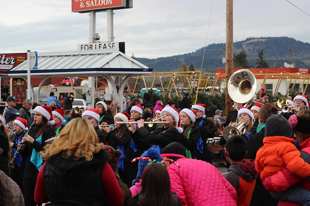 Marching bands played Christmas songs at the 63rd Annual Springfield Christmas Parade in Springfield, Ore., Saturday, Dec. 5. Photo by Claire Aubin.