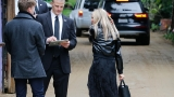 Somber stars attend memorial for Reynolds-Fisher at compound