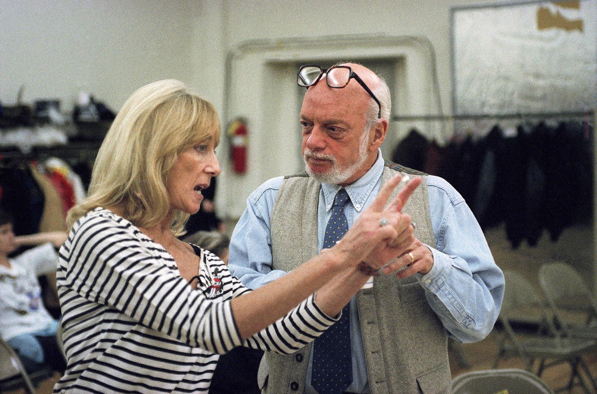 "FILE - This Nov. 5, 1993 file photo, director Harold Prince, right, talks with choreographer Gillian Lynne during rehearsals for the upcoming San Francisco production of ""Phantom of the Opera"", in New York.{ } (AP Photo/Paul Hurschmann, File)"