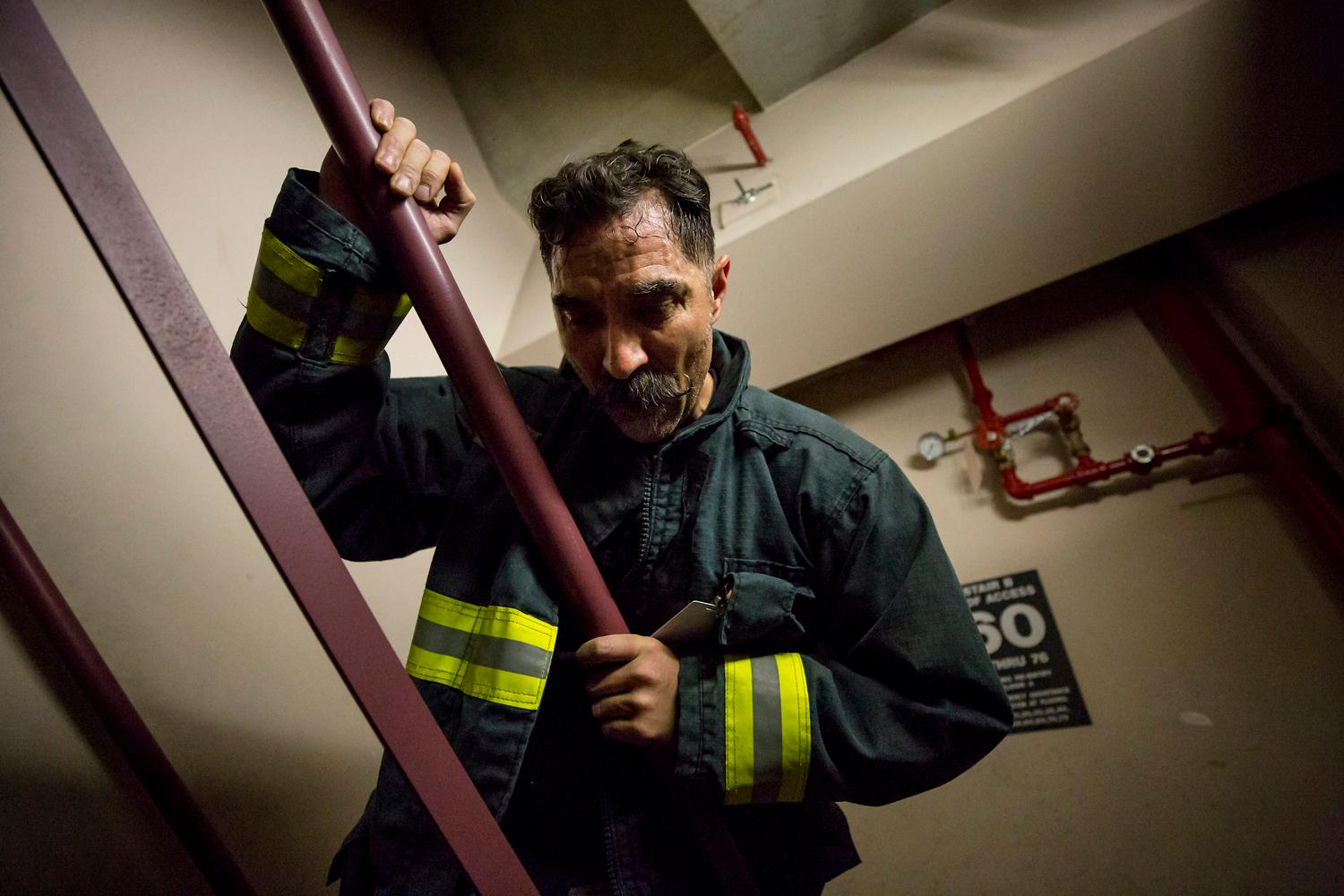 Rich Brown, lead ambassador and firefighter from Boise, Idaho, does a training climb for the Scott Firefight Stairclimb that benefits the Leukemia & Lymphoma Society on Friday, March 9, 2018. 2,000 firefighters will climb the 69 floors (1,356 stairs!) on Sunday to the Sky View Observatory of the Columbia Tower. To donate to this cause, please visit www.firefighterstairclimb.org. (Sy Bean / Seattle Refined)