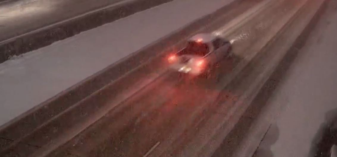 The sides of the roads are a little better. However, ice and snow are creating slick road conditions. (Photo: KUTV)