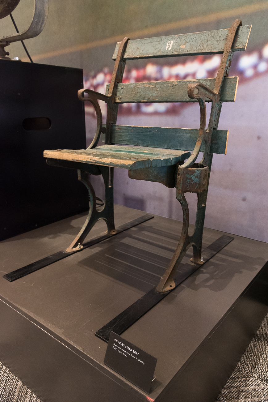 A chair from Crosely Field is one of the many artifacts in the Hall of Fame Museum's collection.{ }/ Image: Phil Armstrong, Cincinnati Refined // Published: 4.20.19