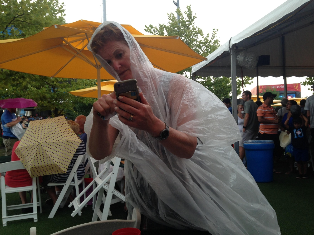 Glynnis Reinhart sporting a fashionable look during Thursday night's rain delay / Image: provided